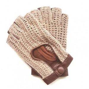 mitaines en cuir d'agneau et crochet laine pour femme