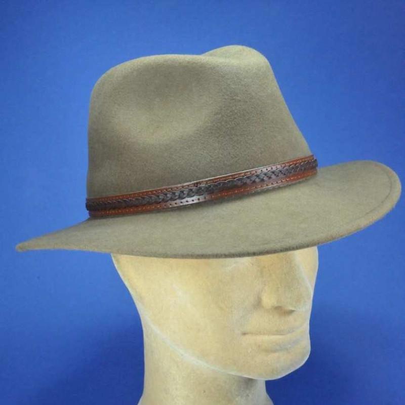 Chapeau feutre garniture cuir