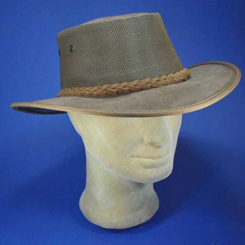 Barmah chapeau homme en cuir ajouré