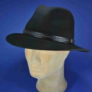 Chapeau feutre laine noire garniture cuir