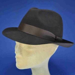chapeau fedora feutre de laine marron